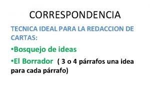 CORRESPONDENCIA TECNICA IDEAL PARA LA REDACCION DE CARTAS