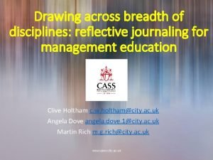 Drawing across breadth of disciplines reflective journaling for