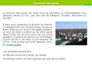Fonctions des ponts FIN La fonction des ponts