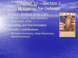 Expanding the Draft Chapter 17 Section 1 Expanding