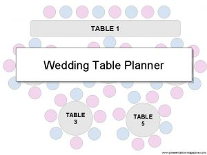 TABLE 1 TABLE 2 Wedding Table Planner TABLE