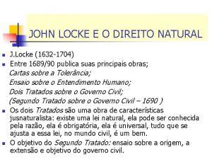 JOHN LOCKE E O DIREITO NATURAL n n