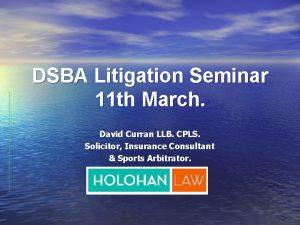 DSBA Litigation Seminar 11 th March David Curran