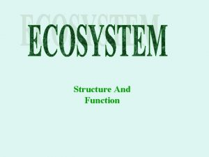 Structure And Function Ecosystem ECOSYSTEM TERRESTRIAL FOREST DESEART
