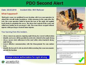 PDO Second Alert Date 20 03 2018 Incident
