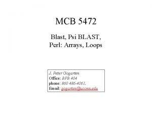MCB 5472 Blast Psi BLAST Perl Arrays Loops