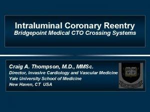 Intraluminal Coronary Reentry Bridgepoint Medical CTO Crossing Systems