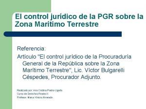El control jurdico de la PGR sobre la