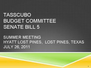TASSCUBO BUDGET COMMITTEE SENATE BILL 5 SUMMER MEETING