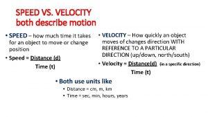 SPEED VS VELOCITY both describe motion SPEED how