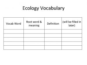 Ecology Vocabulary Root word meaning Vocab Word Definition