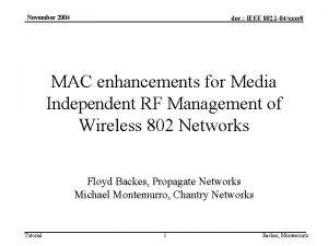 November 2004 doc IEEE 802 1 04xxxr 0