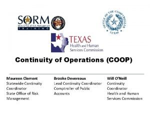 Continuity of Operations COOP Maureen Clement Statewide Continuity