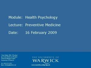 Module Health Psychology Lecture Preventive Medicine Date 16