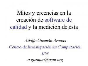 Mitos y creencias en la creacin de software