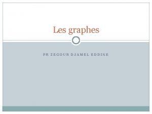 Les graphes PR ZEGOUR DJAMEL EDDINE Les graphes
