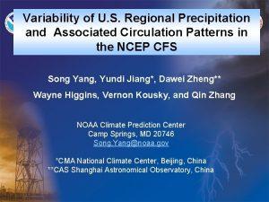 Variability of U S Regional Precipitation and Associated
