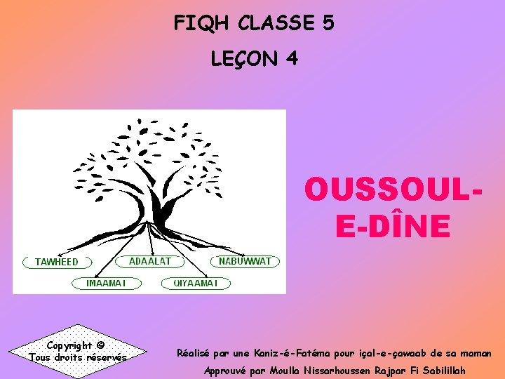 FIQH CLASSE 5 LEON 4 OUSSOULEDNE Copyright Tous