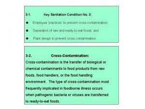 3 1 Key Sanitation Condition No 3 Employee