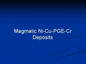 Magmatic NiCuPGECr Deposits Distribution of Magmatic Sulphide Deposits