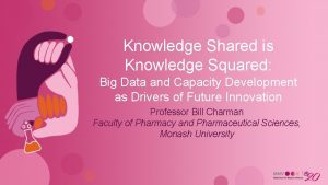 Knowledge Shared is Knowledge Squared Big Data and