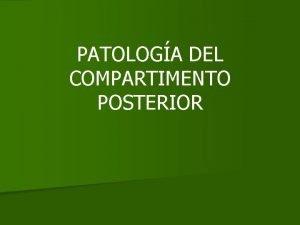 PATOLOGA DEL COMPARTIMENTO POSTERIOR PATOLOGA DEL COMPARTIMENTO POSTERIOR