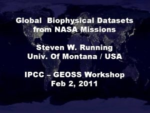 Global Biophysical Datasets from NASA Missions Steven W
