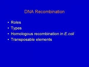DNA Recombination Roles Types Homologous recombination in E