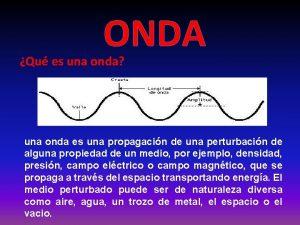 ONDA Qu es una onda una onda es