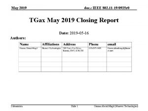 May 2019 doc IEEE 802 11 190925 r