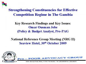 Strengthening Constituencies for Effective Competition Regime in The