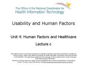 Usability and Human Factors Unit 4 Human Factors