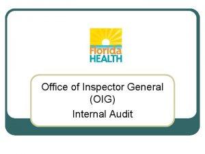 Office of Inspector General OIG Internal Audit OIG