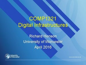 COMP 1321 Digital Infrastructures Richard Henson University of