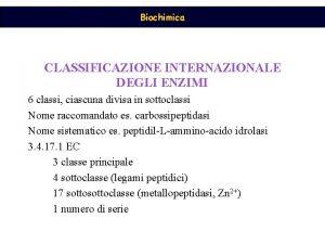 Biochimica CLASSIFICAZIONE INTERNAZIONALE DEGLI ENZIMI 6 classi ciascuna