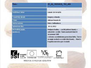 slo VY32 INOVACE TEC499 C 2 Cukrsk technologie