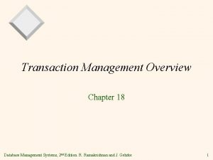Transaction Management Overview Chapter 18 Database Management Systems