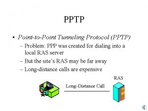 PPTP PointtoPoint Tunneling Protocol PPTP Problem PPP was