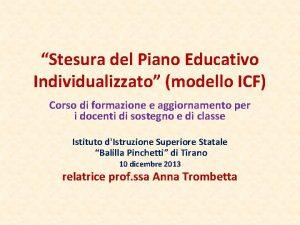 Stesura del Piano Educativo Individualizzato modello ICF Corso