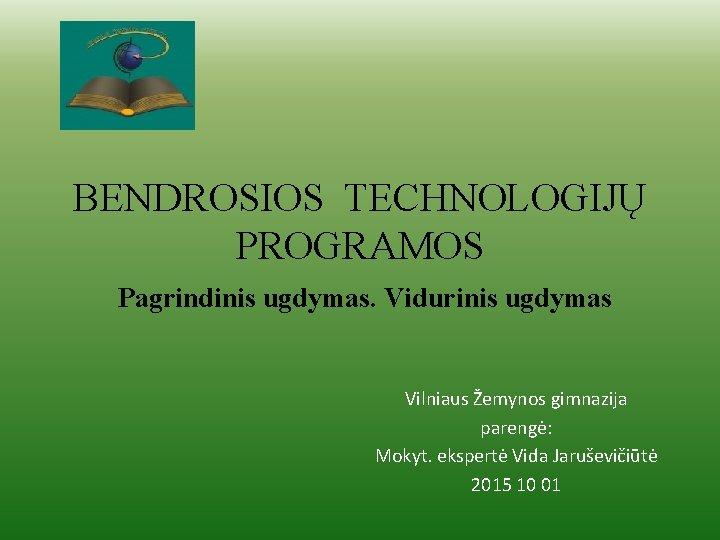 BENDROSIOS TECHNOLOGIJ PROGRAMOS Pagrindinis ugdymas Vidurinis ugdymas Vilniaus