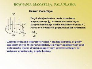RWNANIA MAXWELLA FALA PASKA Prawo Faradaya Przy kadej