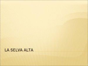 LA SELVA ALTA 1 LA SELVA ALTA O