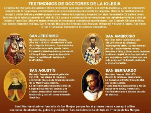 TESTIMONIOS DE DOCTORES DE LA IGLESIA La Iglesia