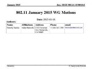 January 2015 doc IEEE 802 11 150015 r