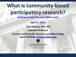 What is communitybased participatory research And how to