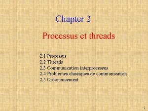 Chapter 2 Processus et threads 2 1 Processus