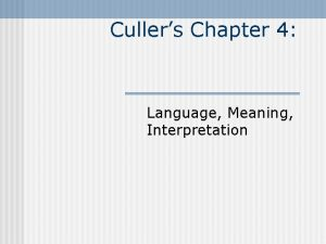 Cullers Chapter 4 Language Meaning Interpretation Meaning in