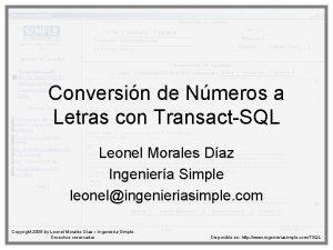 Conversin de Nmeros a Letras con TransactSQL Leonel