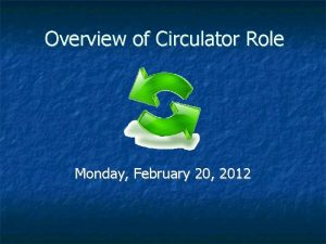 Overview of Circulator Role Monday February 20 2012