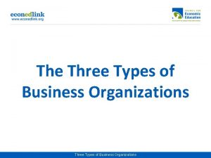 The Three Types of Business Organizations Business Organizations